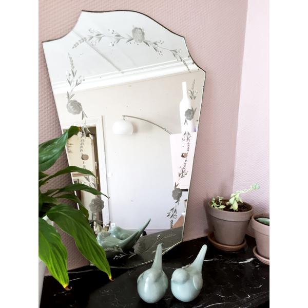 miroir biseaut vintage ann es 50 verre et cristal transparent bon tat art d co. Black Bedroom Furniture Sets. Home Design Ideas