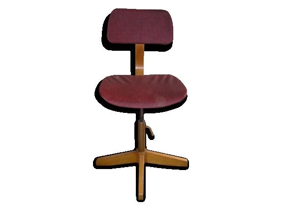 Chaise de bureau r�glable en hauteur bois et skai style