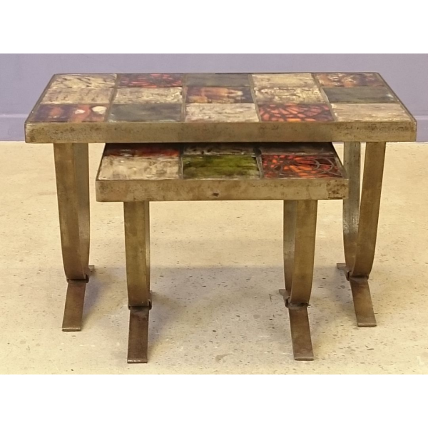 Tables basses gigognes c ramique porcelaine fa ence - Table basse multicolore ...