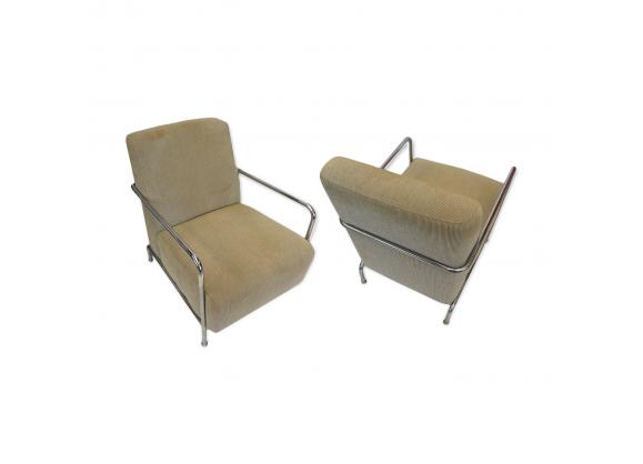 Paire de fauteuils vintage club en velours cotel beige - Canape en velours cotele ...