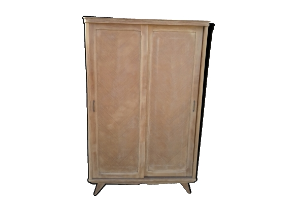 Armoire pieds compas 2 portes coulissantes en bois brut vintage