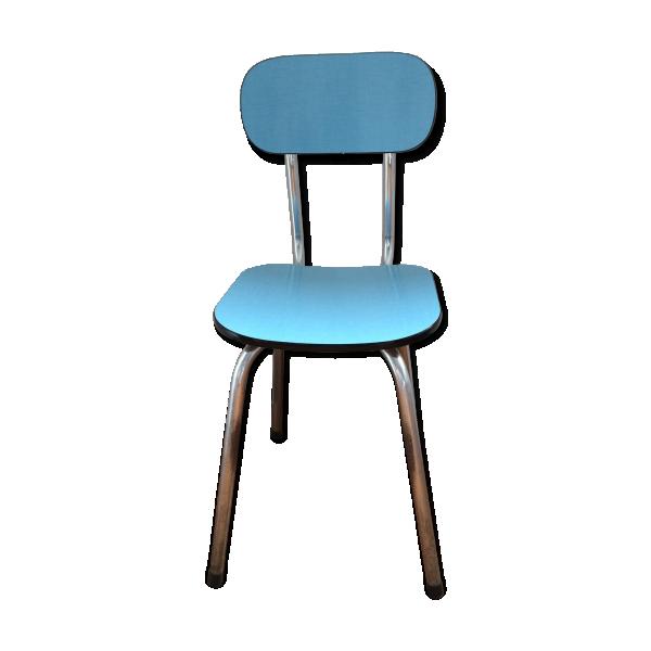 Chaise formica bleue formica bleu bon tat vintage for Chaise formica