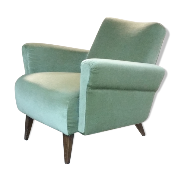 fauteuil club ann es 50 60 d j restaur tissu vert bon tat vintage. Black Bedroom Furniture Sets. Home Design Ideas