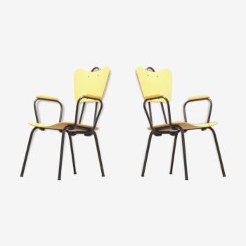 Design italien : paire de chaises noir & jaune par Arteluce