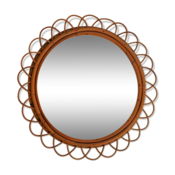 Miroirs vintage d 39 occasion for Miroir rond bambou