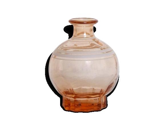 Vase forme boule en verre vieux rose rétro vintage 40/50's