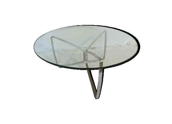 Table basse ronde chrome et verre des années 70