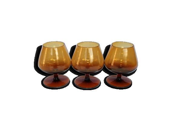 Lot de 3 verres à Cognac, couleur ambre vintage