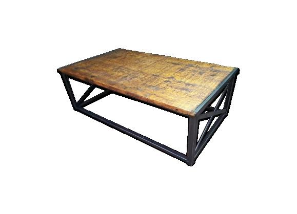 Grande table basse industrielle metal et bois