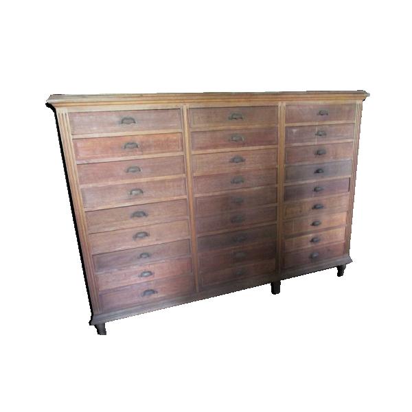 Meuble tiroirs de notaire bois mat riau bois for Bureau meuble notaire
