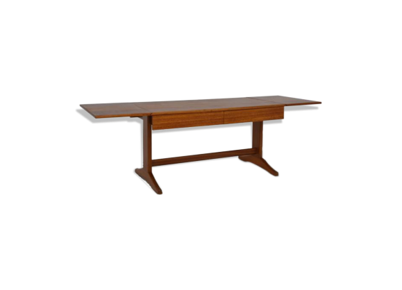 Table basse rallonges scandinave teck bois couleur for Table scandinave a rallonge