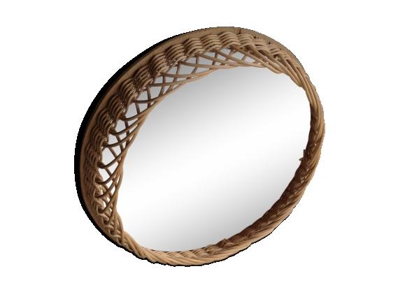 Miroir en éclisse de rotin diamètre 33cm