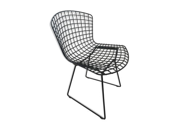 chaise noire harry berto a par knoll m tal noir bon tat design. Black Bedroom Furniture Sets. Home Design Ideas