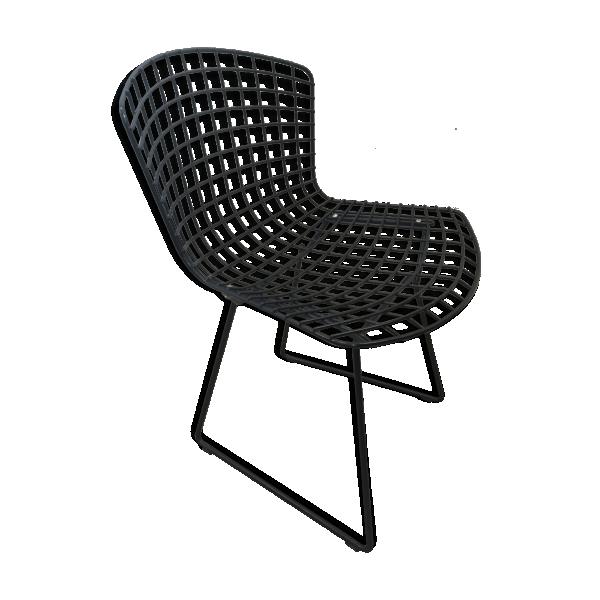chaise noire harry berto a par knoll m tal noir bon tat design. Black Bedroom Furniture Sets. Home Design Ideas