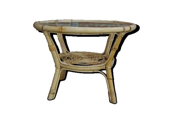 Table basse en rotin et verre design années 60