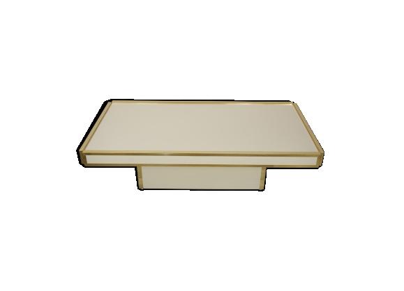 Table basse laquée ivoire et laiton design italien des années 60, 70