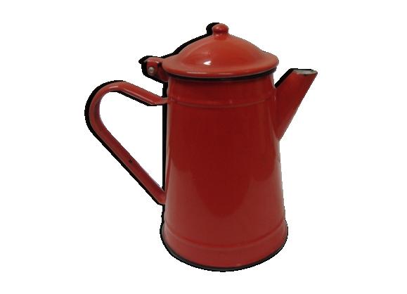 Cafetière en tôle émaillée rouge de 1960