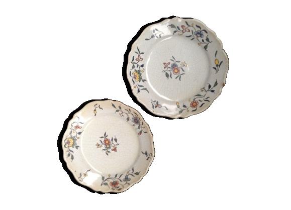 Paire d'assiettes en faïence à motif à décor de fleurs champêtre