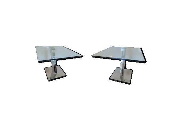 Paire de bouts de canapé tables design plateau verre pied inox chromé