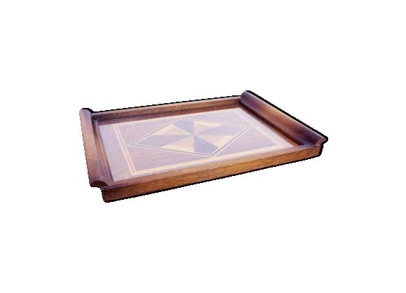 Plateau art deco bois et verre avec marqueterie