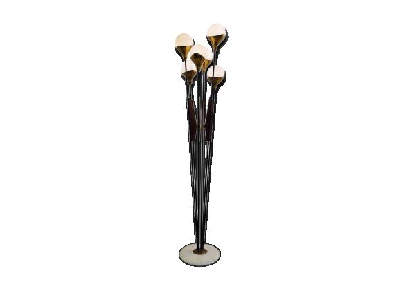 lampadaire stilnovo des ann es 1950 en verre m tal bois laiton et marbre italie bois. Black Bedroom Furniture Sets. Home Design Ideas