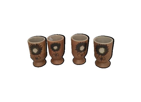 Lot de 4 mugs en grès motif fleur bleue