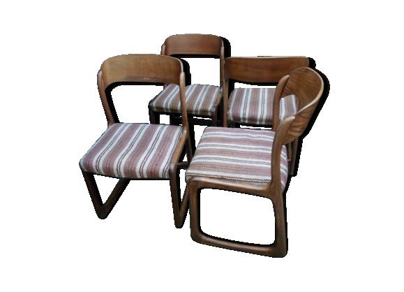 ensemble de 4 chaises baumann traineau bois mat riau marron bon tat vintage. Black Bedroom Furniture Sets. Home Design Ideas