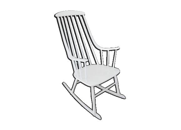 rocking chair grandessa de lena larsson bois mat riau blanc dans son jus scandinave. Black Bedroom Furniture Sets. Home Design Ideas