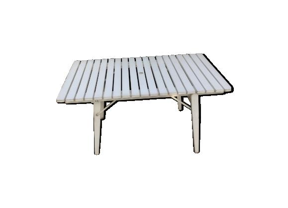Table de jardin pliante des années 50, R.Gleyzes , en bois