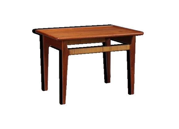 Table basse scandinave en teck et cannage design année 60