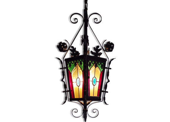 grande lanterne ancienne en fer forg avec vitraux au plomb fer multicolore bon tat. Black Bedroom Furniture Sets. Home Design Ideas