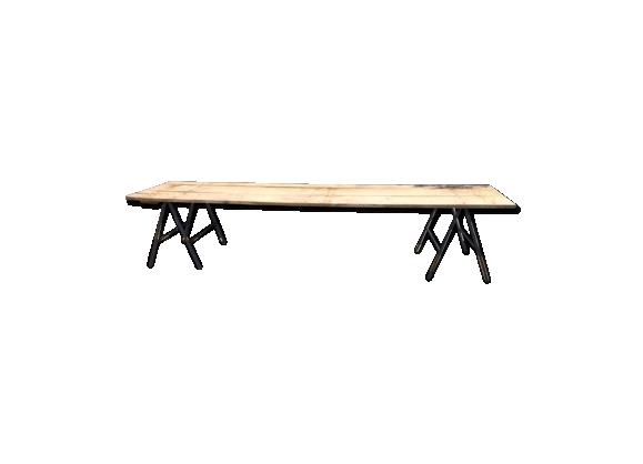 Table chêne sur tréteaux métal