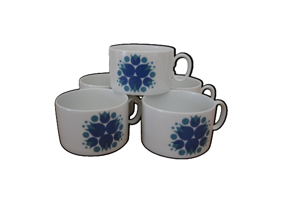 Ensemble de 5 tasses bleues