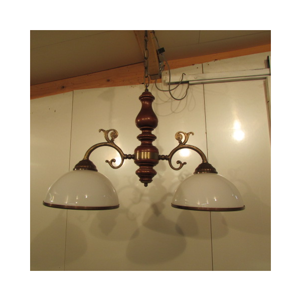 lustre 2 feux style billard bronze dor bon tat industriel 18684. Black Bedroom Furniture Sets. Home Design Ideas