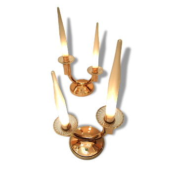 Paire Lampe Table Art Deco GENET & MICHON Moderniste Verre Depoli Acide Laiton Pair Lamp French Modernist Glass