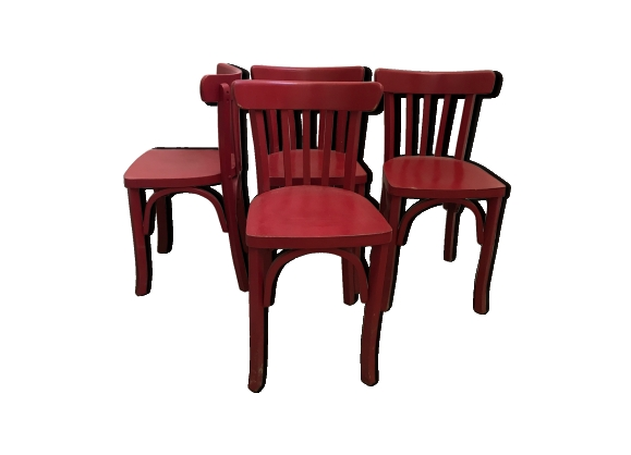 lot de 4 chaises bistrot rouges - Chaise Bistrot Rouge