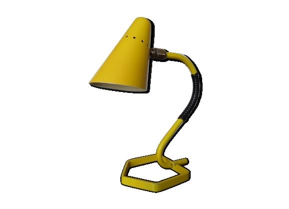 Lampe cocotte en métal laqué jaune années 50 60