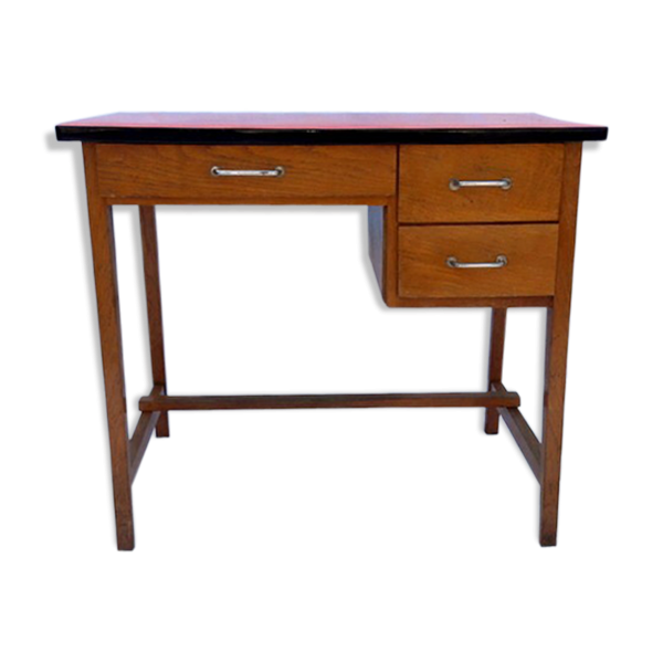 bureau enfant vintage bois mat riau rouge bon tat. Black Bedroom Furniture Sets. Home Design Ideas