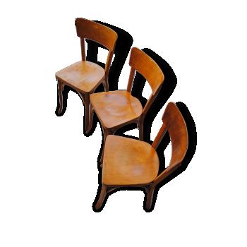 3 Chaises de bistrot Emile Baumann vintage