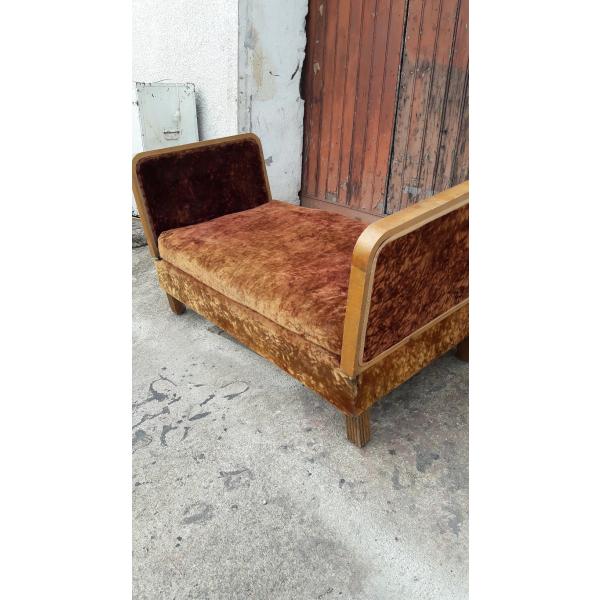 banquette canape fauteuil ep art deco 1930 tissu marron bon tat art d co 157971. Black Bedroom Furniture Sets. Home Design Ideas