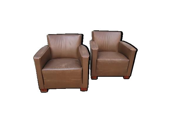 Paire de fauteuils en cuir art-deco des années 30