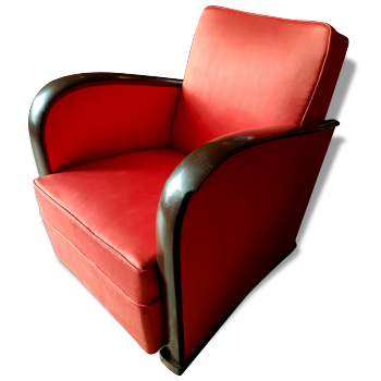 fauteuil chauffeuse de couleur rouge vintage d 39 occasion. Black Bedroom Furniture Sets. Home Design Ideas
