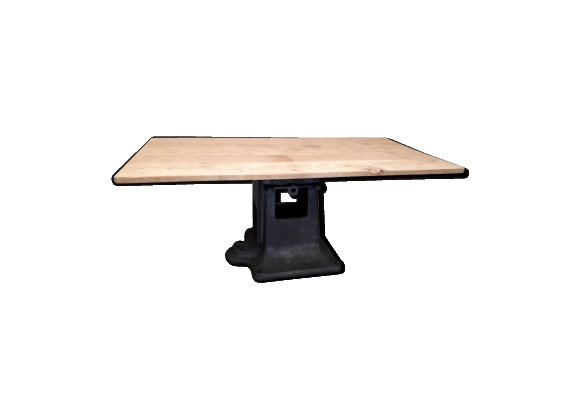 Table industrielle pied en fonte plateau chêne
