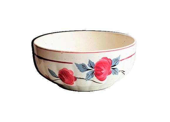 Saladier vintage en céramique décor roses