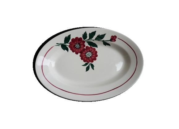 Plat ovale fleuri Longwy