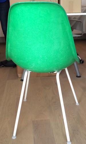 4 chaises eames dsw - fibre de verre - vertes - coque d'origine ... - Chaise Eames Fibre De Verre