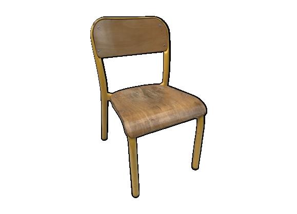 Chaises jaunes m tal - Chaise d ecolier vintage ...