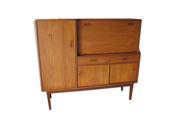 petit buffet en teck 1950s bois mat riau bois. Black Bedroom Furniture Sets. Home Design Ideas