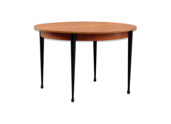 Table ronde rallonges pieds noirs ann es 1960 bois for Salle a manger annee 1960