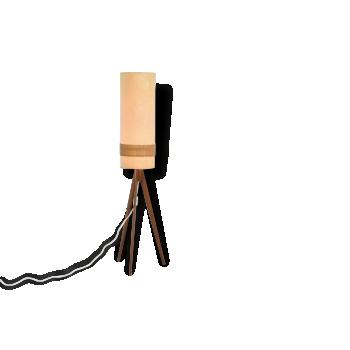 Lampadaire avec trépied en teck